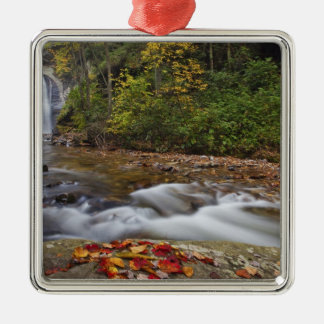 Looking Glass Falls in the Pisgah National Silver-Colored Square Ornament