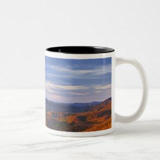 Looking Glass Rock at sunrise in the Pisgah Two-Tone Coffee Mug