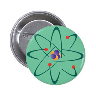 Looking InTime. Atoms On Sea Green Background. Sci 2 Inch Round Button