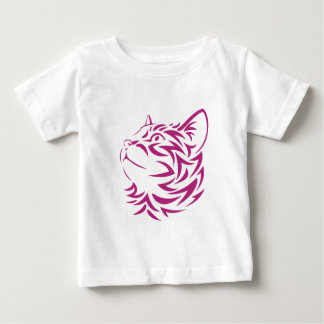 Looking Left Cat Kitten Face Stencil Baby T-Shirt