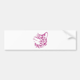 Looking Left Cat Kitten Face Stencil Bumper Sticker