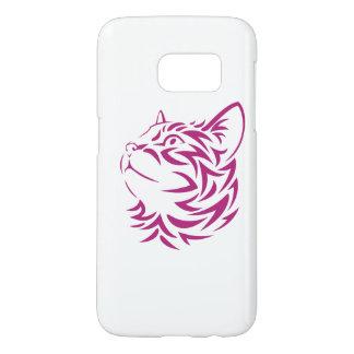 Looking Left Cat Kitten Face Stencil Samsung Galaxy S7 Case
