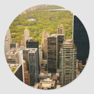 Looking Out At Central Park From Above, NYC Round Sticker
