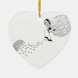 Looking Out Ceramic Heart Ornament