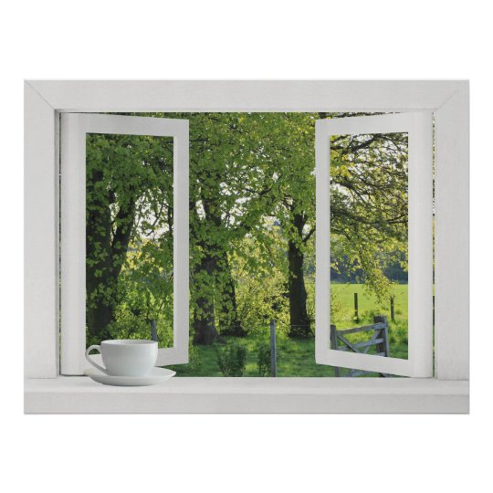 Looking Out on Green - Open Window View with Trees Poster