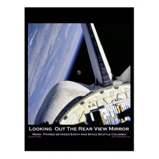 Looking Thru Rear View Mirror From Space Shuttle Postcard