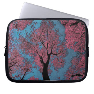 Looking Up at a Blue Sky & Pink Trees Laptop Sleeve