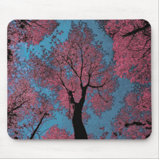 Looking Up at a Blue Sky & Pink Trees Mouse Pad