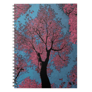 Looking Up at a Blue Sky & Pink Trees Spiral Notebook