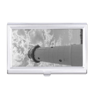 Looking Up Manistee Lighthouse Grayscale Business Card Holder