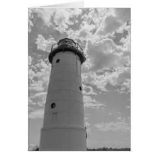 Looking Up Manistee Lighthouse Grayscale Card