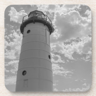 Looking Up Manistee Lighthouse Grayscale Coaster