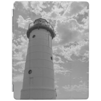 Looking Up Manistee Lighthouse Grayscale iPad Cover