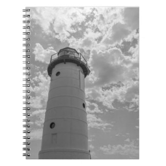 Looking Up Manistee Lighthouse Grayscale Notebook