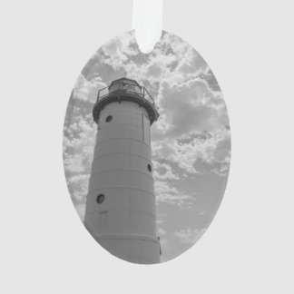 Looking Up Manistee Lighthouse Grayscale Ornament