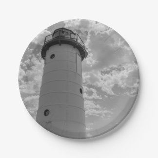 Looking Up Manistee Lighthouse Grayscale Paper Plate