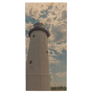 Looking Up Manistee Lighthouse Wood USB Flash Drive