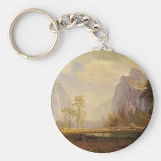 Looking Up the Yosemite Valley - Albert Bierstadt Basic Round Button Keychain