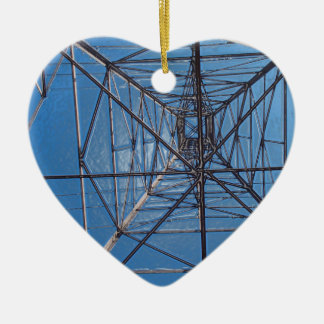 Looking up under the power lines tower ceramic heart ornament