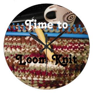 Loom Knitter's Clock, knits, b&w letters Wallclocks