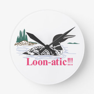 Loon-atic Round Clock