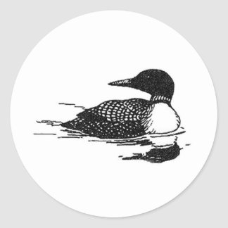 Loon Line Art Classic Round Sticker