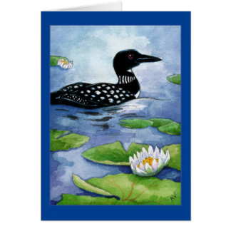Loon, northern wildlife, bird, cottage, lake, pond card