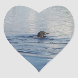 Loon on the lake heart sticker