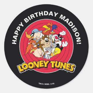 LOONEY TUNES™ Character Group   Birthday Round Sticker