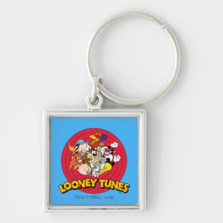 LOONEY TUNES™ Character Logo Silver-Colored Square Keychain