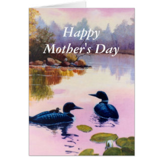 Loons At Twilight Mother's Day Card