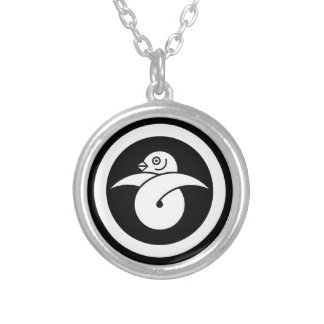 Looped wild goose in circle silver plated necklace