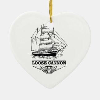 loose cannon boy ceramic heart ornament