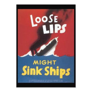"""Loose Lips Sink Ships World War 2 5"""" X 7"""" Invitation Card"""