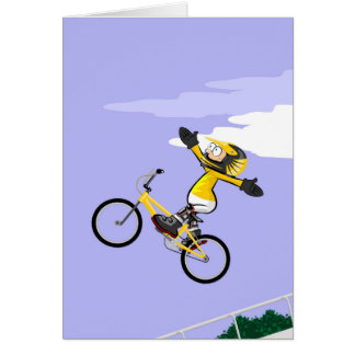 Loose young BMX of hands and flying by the air Card