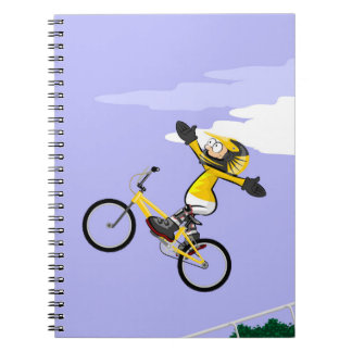 Loosen of hands and in the air in bicycle BMX Notebooks