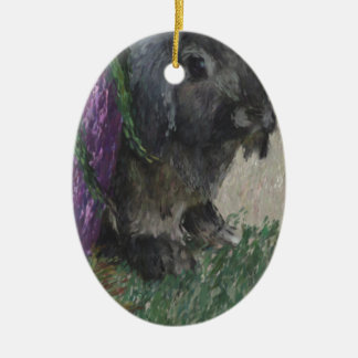 Lop eared  rabbit painting ceramic oval ornament