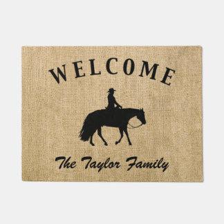 Loping Black Western Pleasure Horse Silhouette Doormat