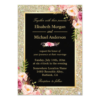 L'or brillant moderne miroite invitation floral de