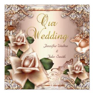 L'or crème beige de mariage élégant s'est levé carton d'invitation  13,33 cm