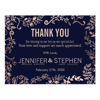 L'or élégant de rose de bleu marine floral carte postale
