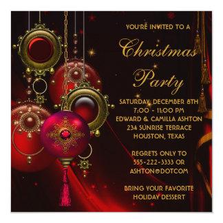 L'or rouge ornemente la fête de Noël d'entreprise Carton D'invitation 13,33 Cm