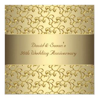 L'or tourbillonne fête d'anniversaire de mariage invitations