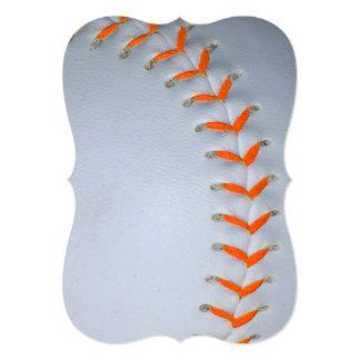 L'orange pique le base-ball/base-ball carton d'invitation  12,7 cm x 17,78 cm