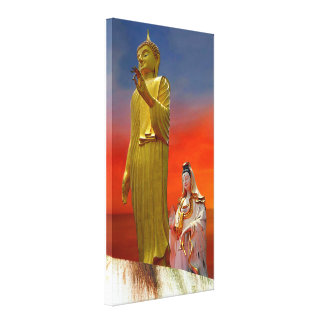 Lord Buddha And Quan Yin Canvas Print