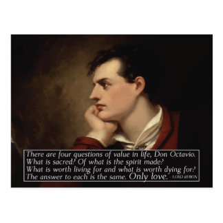 Lord Byron - Four questions quote Postcard
