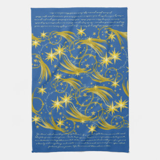 Lord Byron Ye Stars! Gold Stars and Comets Kitchen Towel