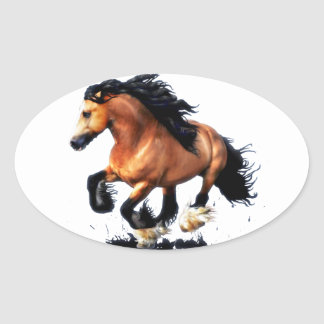 Lord Creedence Gypsy Vanner Horse Oval Sticker