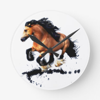 Lord Creedence Gypsy Vanner Horse Round Clock