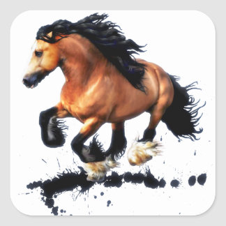 Lord Creedence Gypsy Vanner Horse Square Sticker